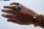 Oval arty ring turquoise and coral cuff.JPG